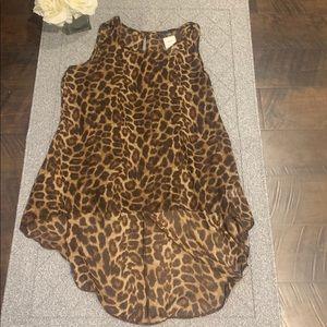 Leopard Sheer High Low Tunic